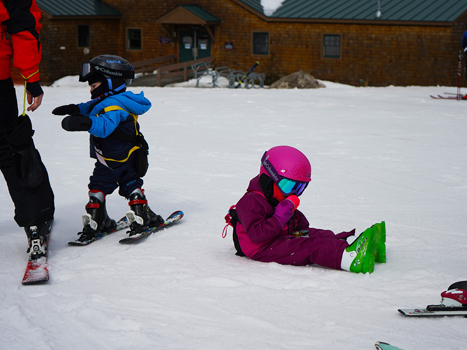 Sometimes you just need to take a load off...learning to ski is hard work!