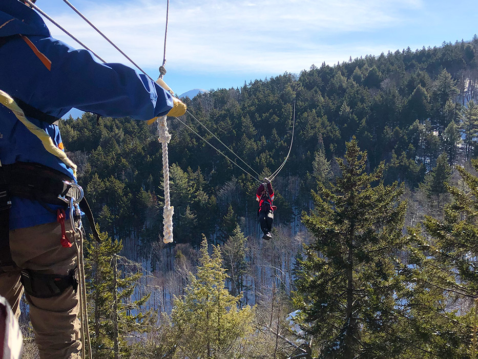 Blue skies & snowy mountains make for incredible sights on a canopy tour this morning!