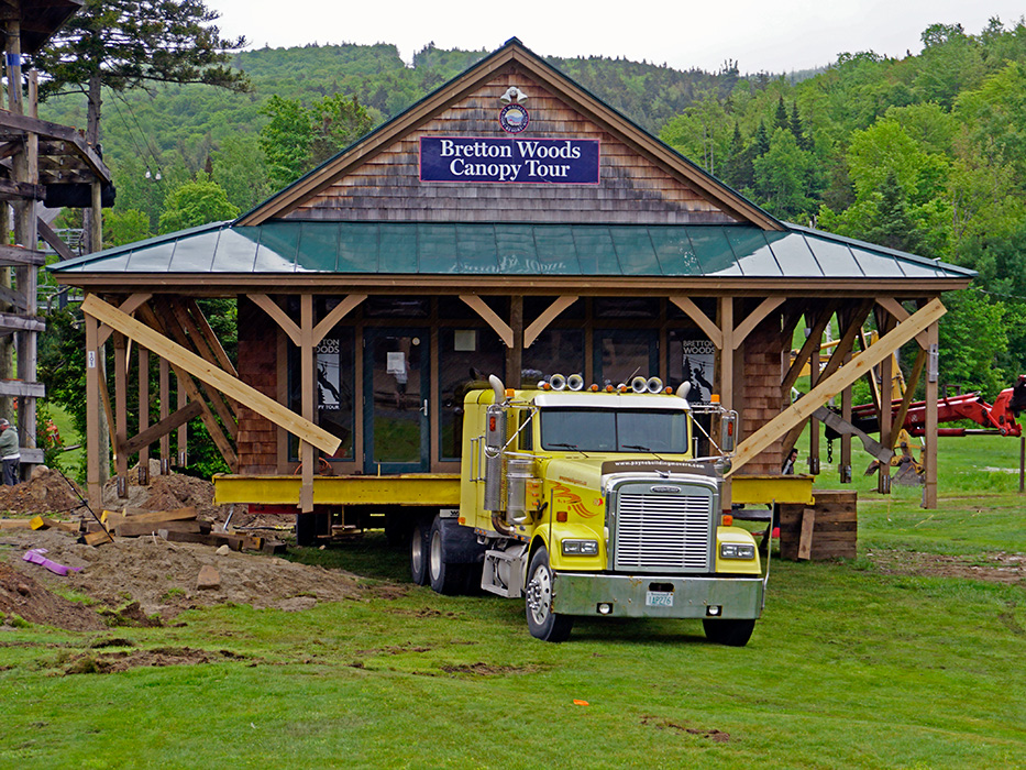 The Canopy Tour building is moving to it's new home.