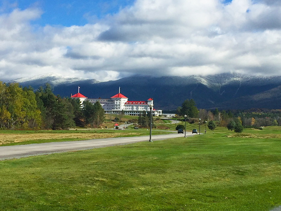 Green grass and white capped mountains...must be fall in northern New Hampshire!