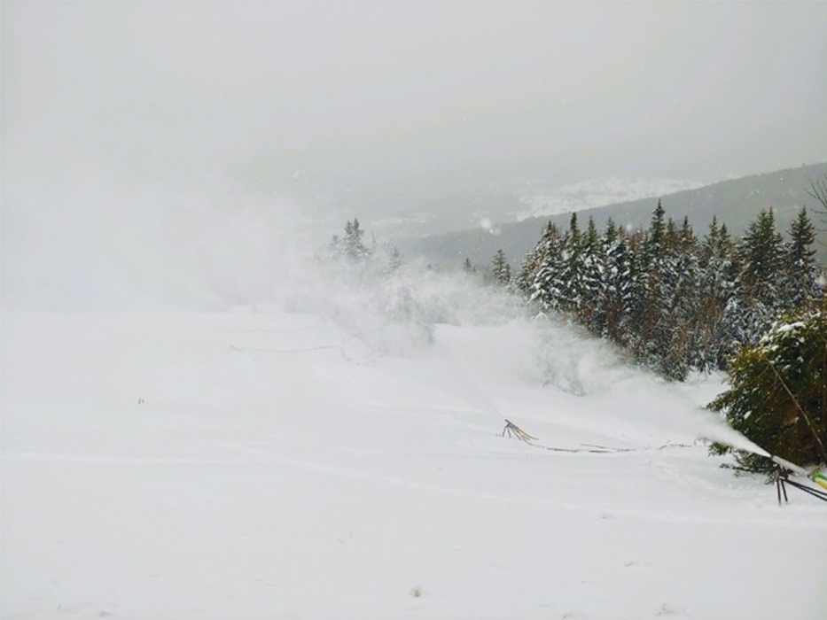"Our Snowmaking Team is doing their thing on Upper Swoop and Ma Nature is doing hers with 3"" of fresh and counting!"