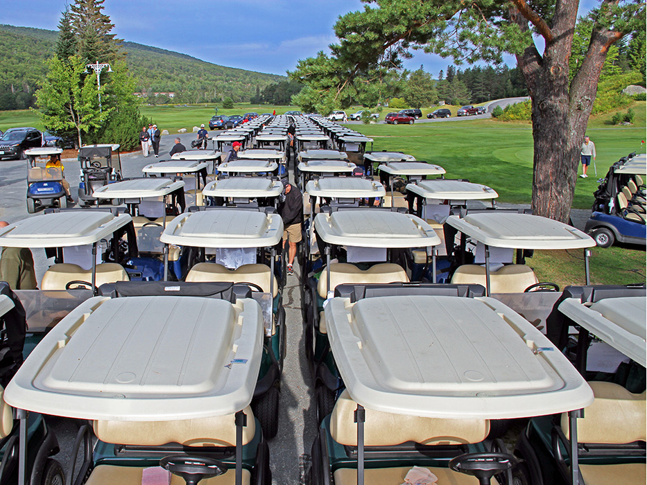 ALL the carts are ready to go for the Dr. Moose golf tourney!