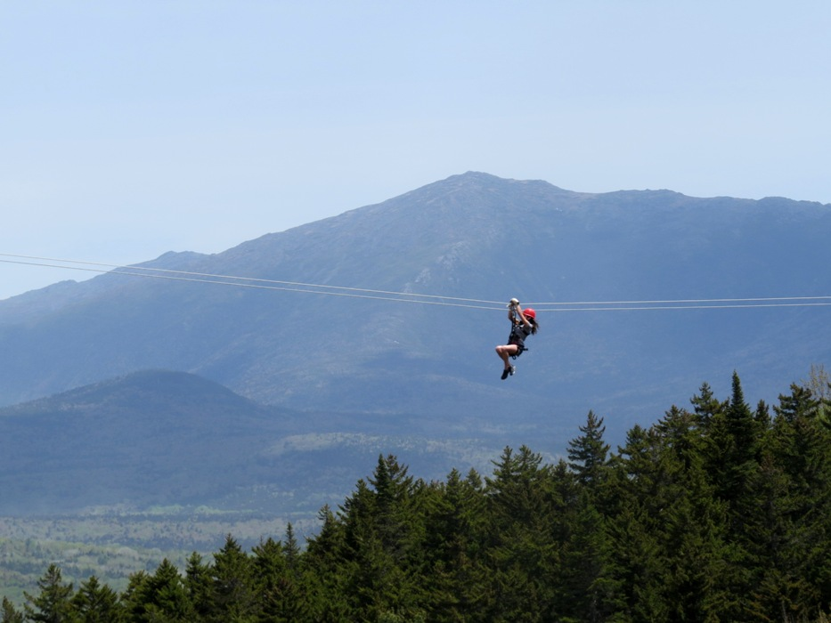 Taking in the beauty of the White Mountains from high in the canopy.
