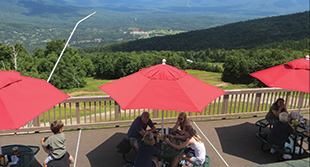Enjoy lunch and scenic views from the deck at Latitude 44 Restaurant