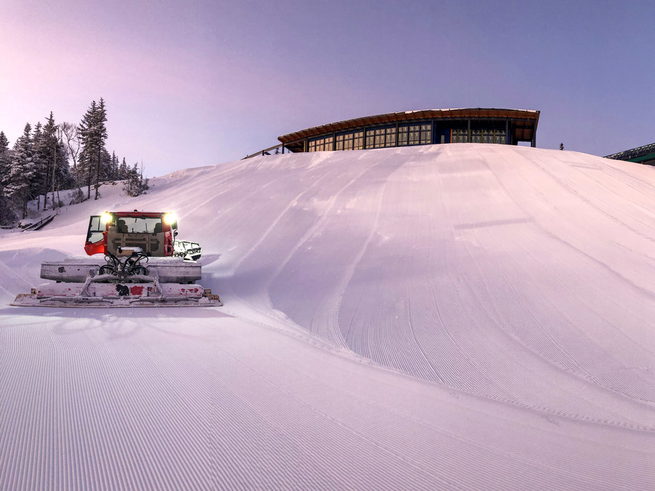 The new lodge is coming along! Here's an angle of it as we groom the trails in front of it